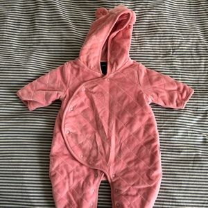 Gap velvet pink bodysuit footed.